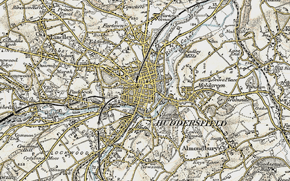 Old map of Huddersfield in 1903