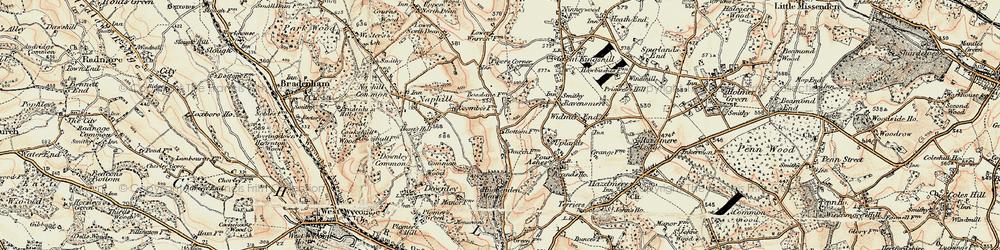 Old map of Hughenden Valley in 1897-1898
