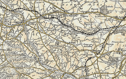 Old map of Hugus in 1900