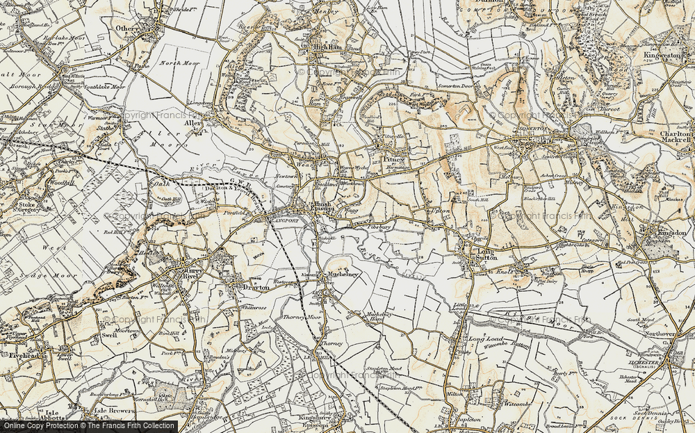 Old Map of Huish Episcopi, 1898-1900 in 1898-1900
