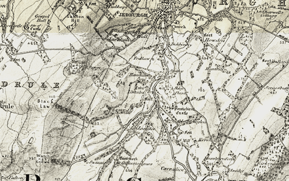 Old map of Lintalee in 1901-1904