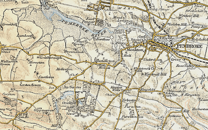 Old map of Hundleton in 1901-1912