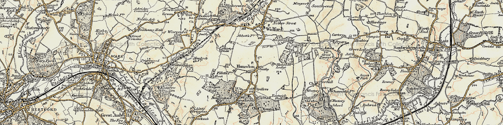 Old map of Hunsdon in 1898-1899