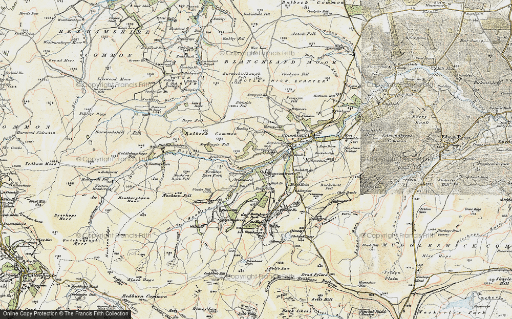 Old Map of Hunstanworth, 1901-1904 in 1901-1904