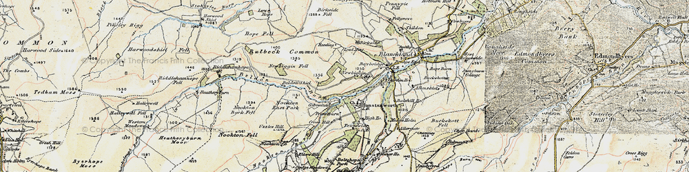Old map of Hunstanworth in 1901-1904