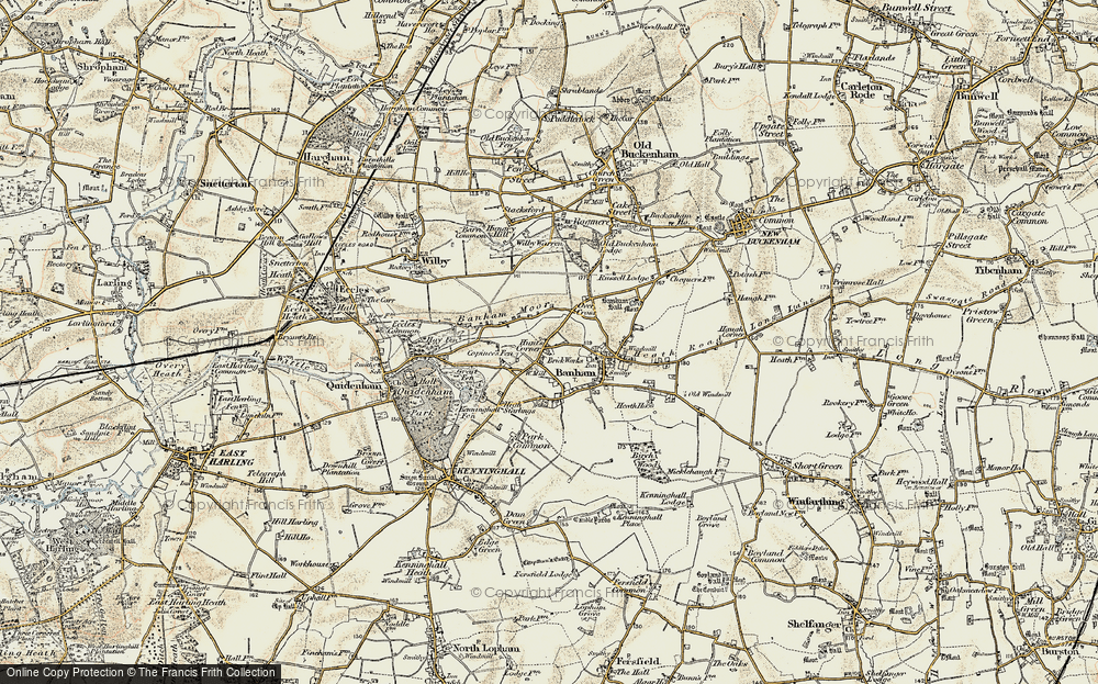 Old Map of Historic Map covering Banham Moor in 1901