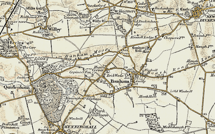 Old map of Banham Moor in 1901