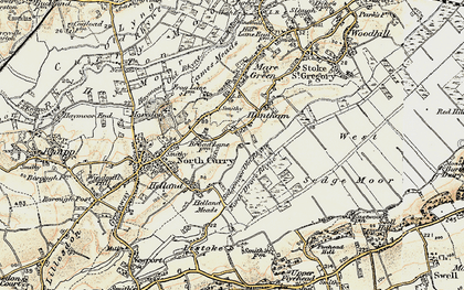 Old map of Sedgemoor Old Rhyne in 1898-1900