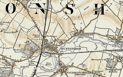 Old map of Huntingdon in 1901