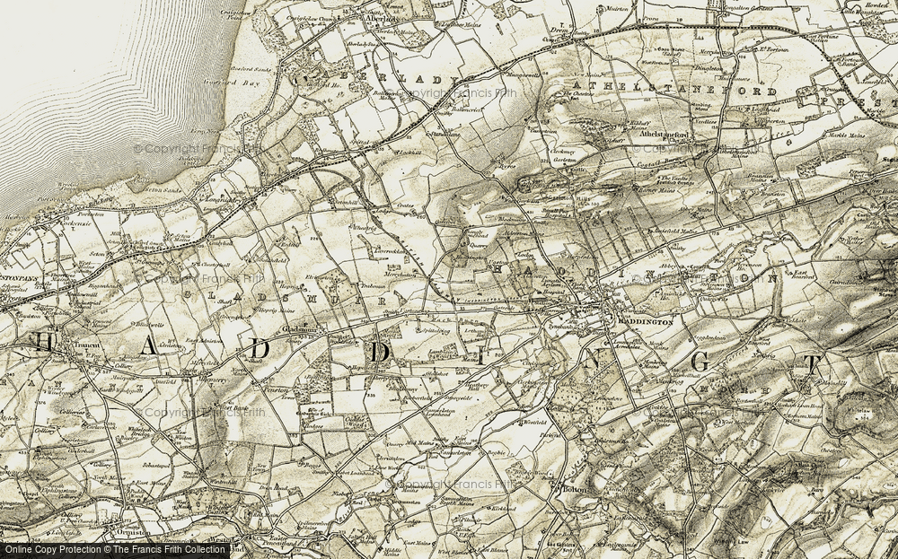 Old Map of Historic Map covering Alderston Mains in 1903-1906