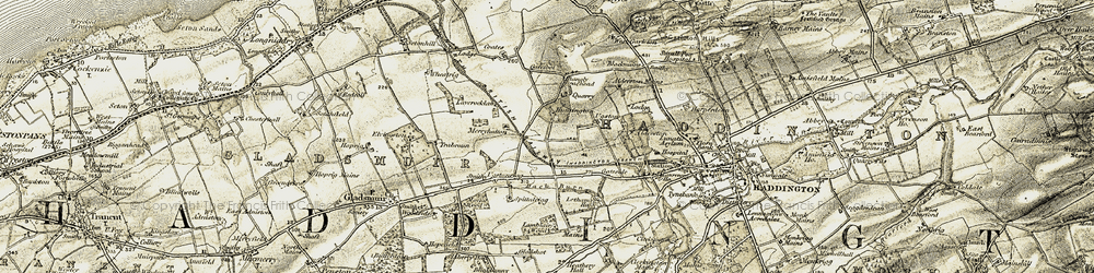 Old map of Alderston Mains in 1903-1906