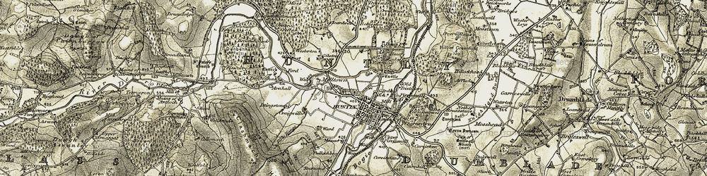 Old map of Huntly in 1908-1910