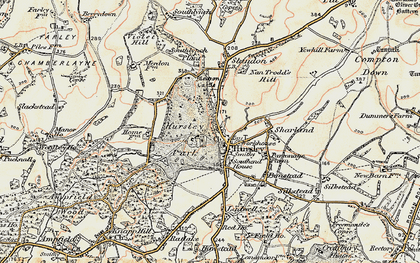Old map of Hursley in 1897-1909