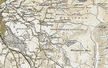 Old map of Worsthorne Moor in 1903