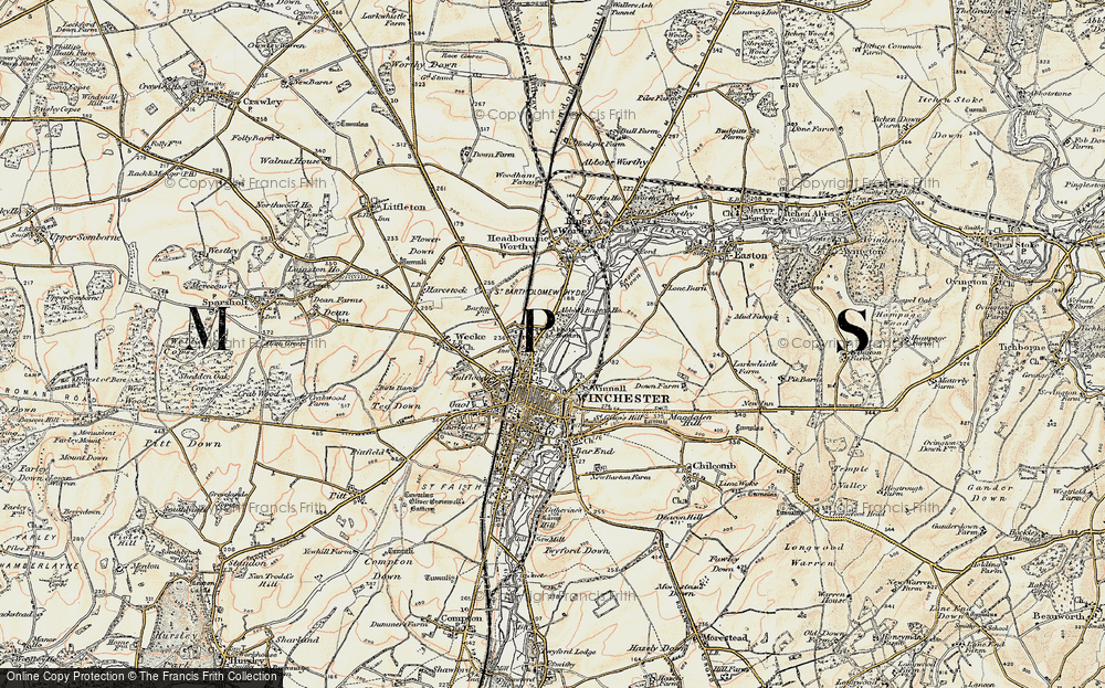 Old Map of Historic Map covering Abbotts Barton Ho in 1897-1900