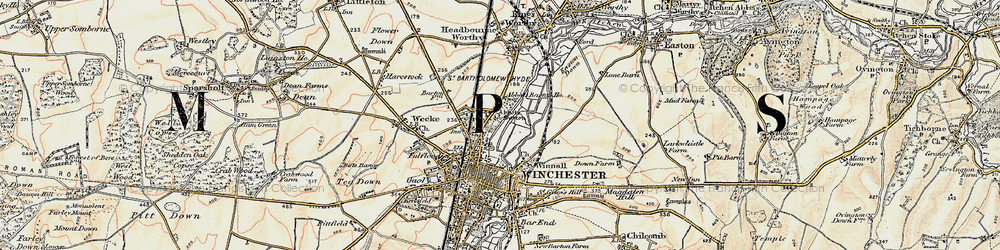 Old map of Abbott's Barton in 1897-1900