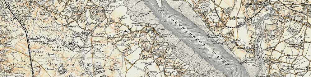 Old map of Hythe in 1897-1909