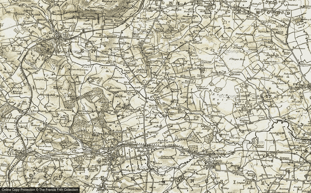 Old Map of Historic Map covering Leys in 1909-1910