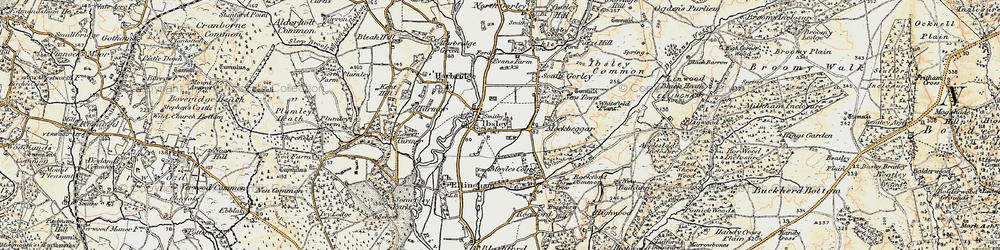 Old map of Ibsley in 1897-1909