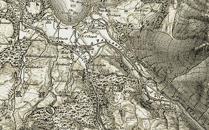 Old map of Tom nan Aighean in 1906-1907