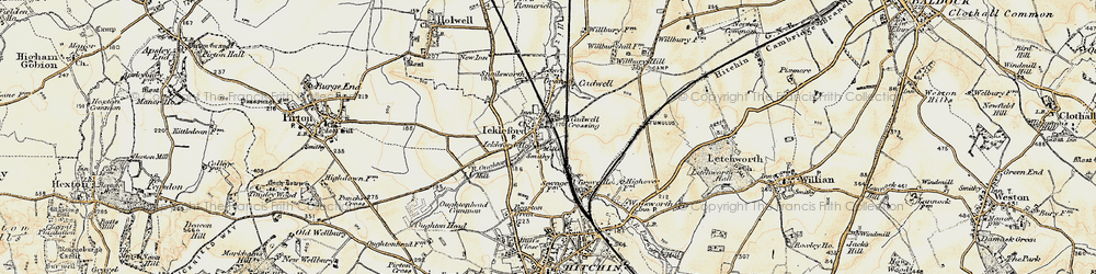 Old map of Ickleford in 1898-1899