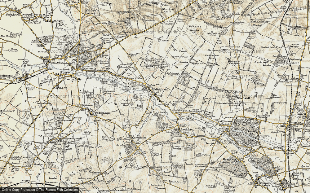 Old Map of Historic Map covering Ash Plantn in 1901
