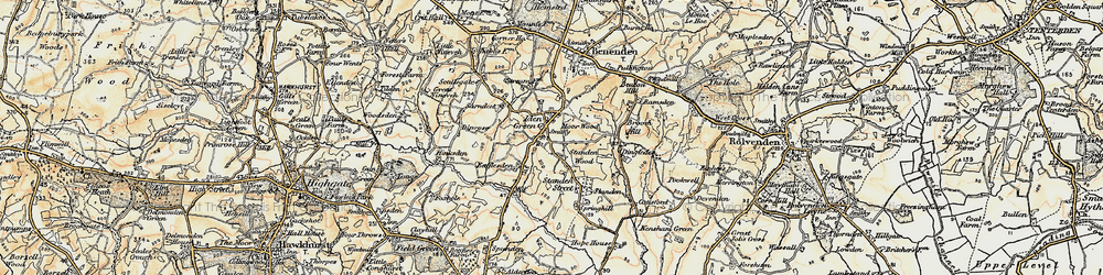 Old map of Iden Green in 1898