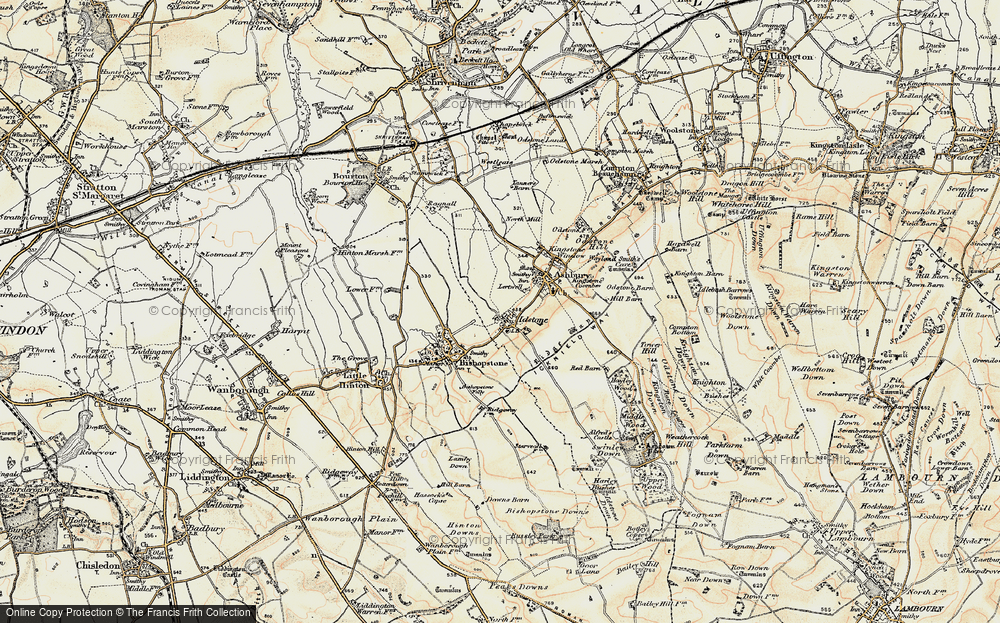 Old Map of Historic Map covering Alfred's Castle in 1897-1899