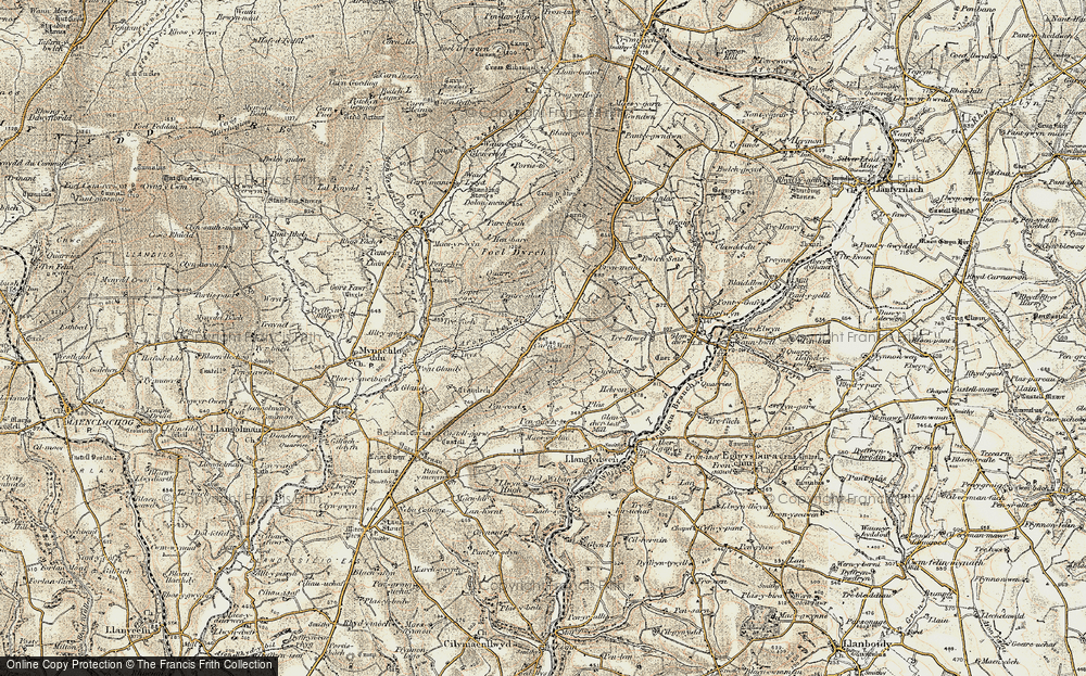 Old Map of Historic Map covering Afon Glandy in 1901