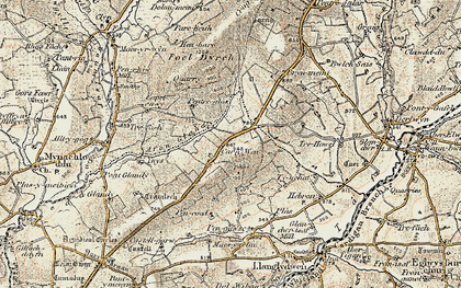Old map of Afon Glandy in 1901