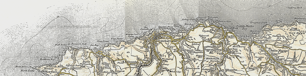 Old map of Ilfracombe in 1900