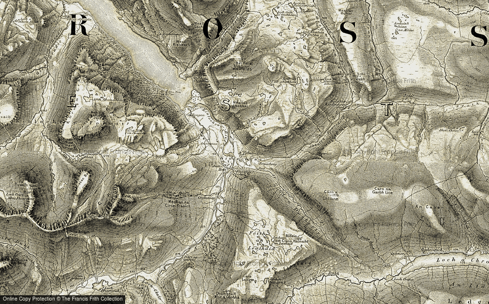 Old Map of Historic Map covering Abhainn Bruachaig in 1908-1909