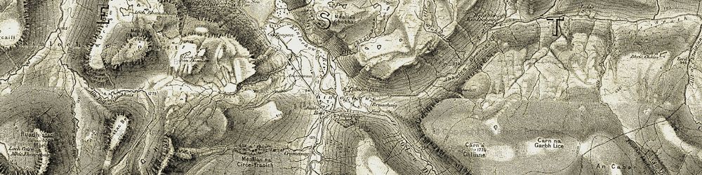 Old map of Allt Chnàimhean in 1908-1909