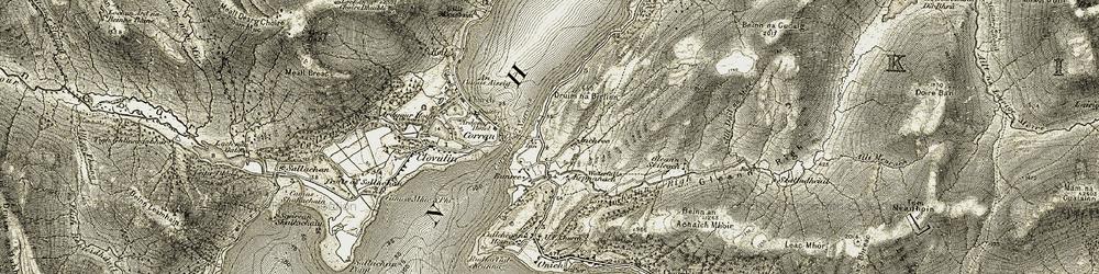 Old map of Allt Dail na Mine in 1906-1908