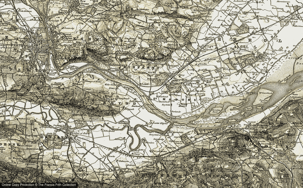 Old Map of Historic Map covering Balhepburn in 1906-1908
