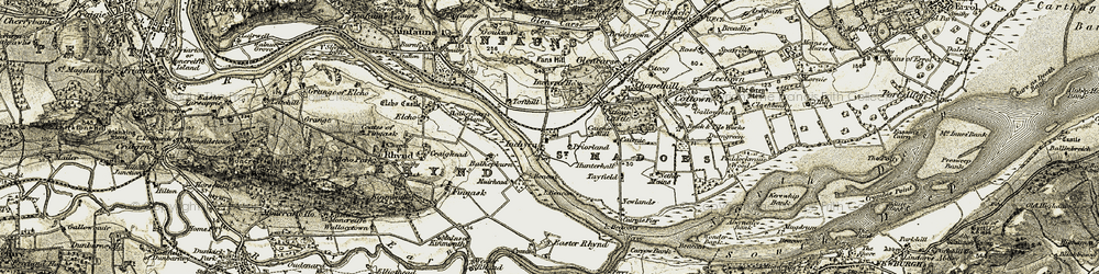 Old map of Wester Rhynd in 1906-1908