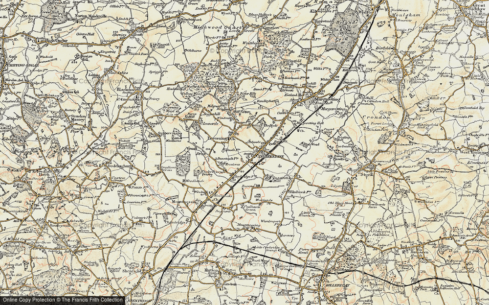 Old Map of Ingatestone, 1898 in 1898