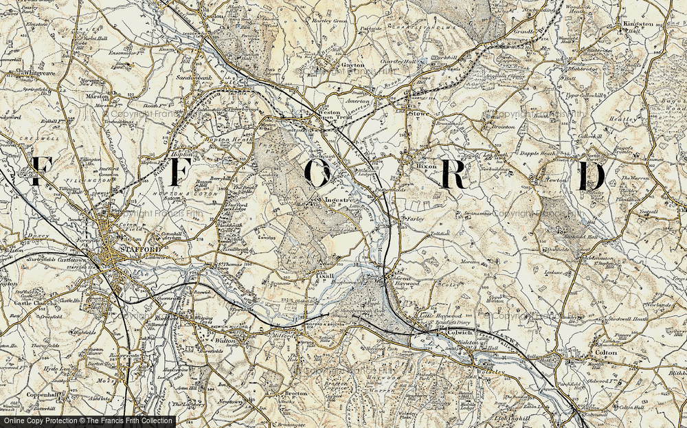 Old Map of Historic Map covering Lion Lodges in 1902