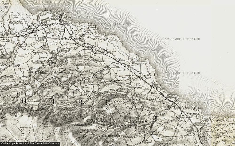 Old Map of Historic Map covering Thurston Mains Burn in 1901-1906