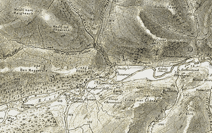Old map of Allt Ghallabhaich in 1906-1908
