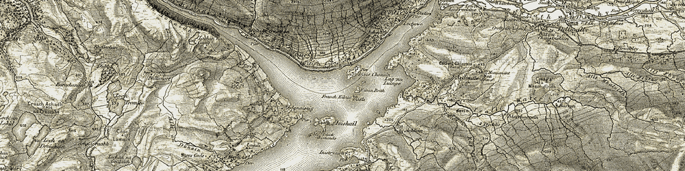 Old map of Achlian in 1906-1907