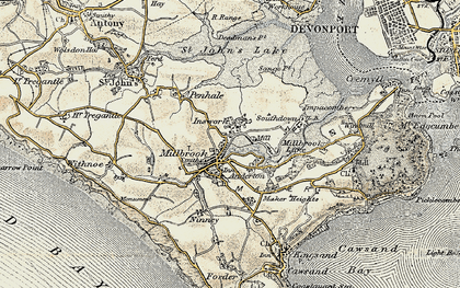 Old map of Insworke in 1899-1900