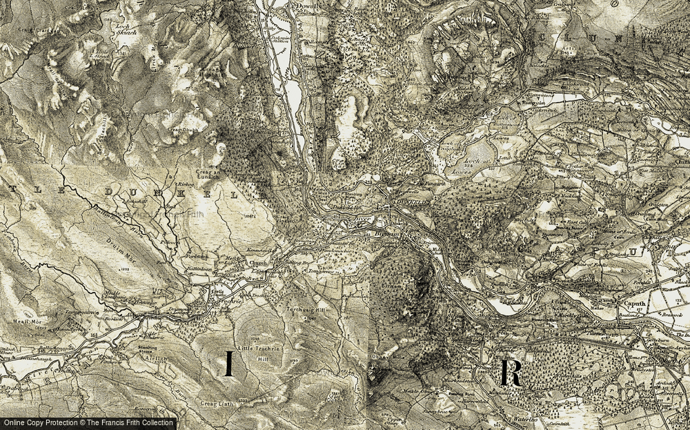 Old Map of Historic Map covering Balhomish in 1907-1908