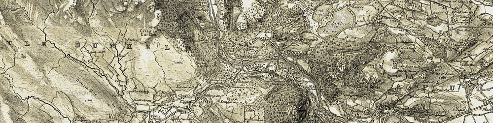 Old map of Tomgarrow in 1907-1908