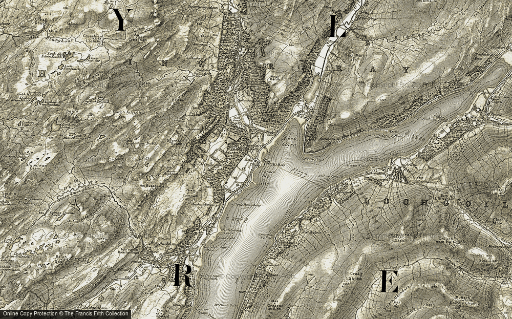 Old Map of Historic Map covering Balantyre Wood in 1906-1907