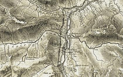 Old map of Allt Arnan in 1906-1907