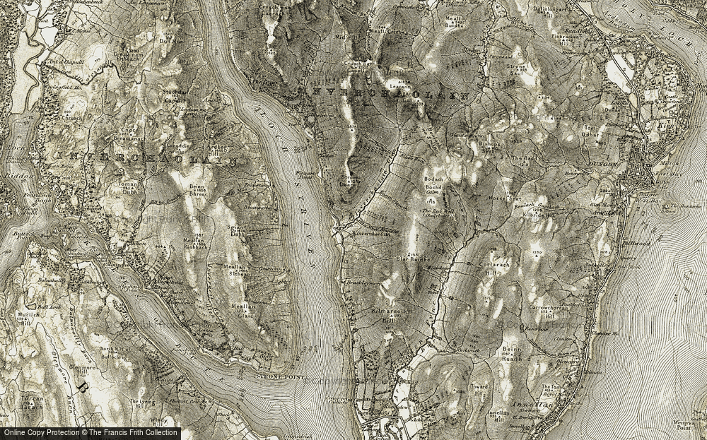 Old Map of Historic Map covering Allt a Mhill Bhuidhe in 1906-1907