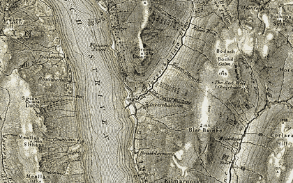 Old map of Allt a' Ghabhainn in 1906-1907