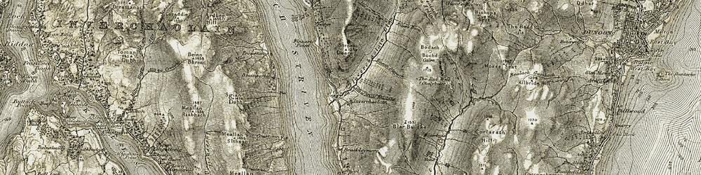 Old map of Allt a' Ghabhainn in 1906-1907