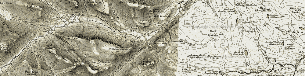 Old map of Allt Gleadhrach in 1908-1912